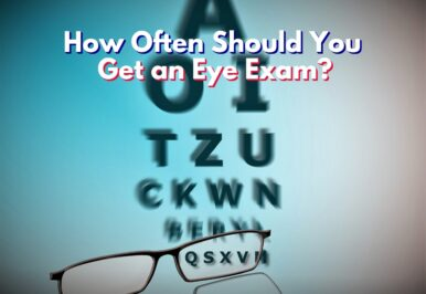 Eye exam showing letters becoming clearer