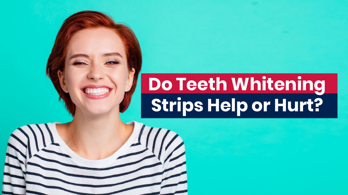 Woman with teeth whitening strips