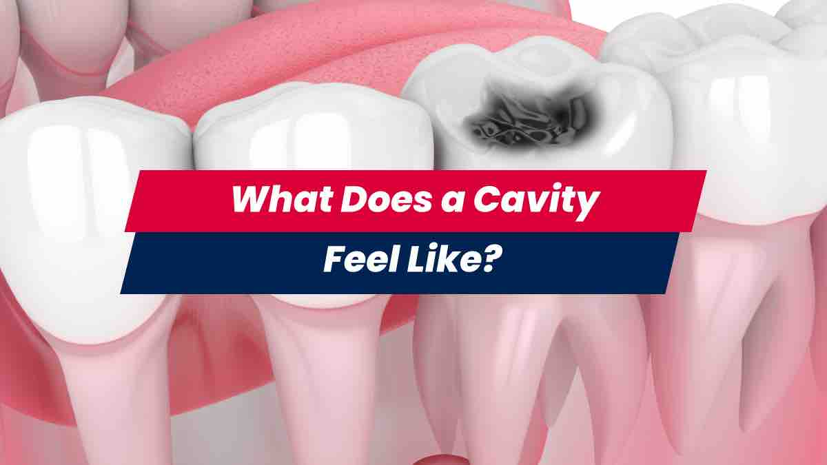 Teeth showing a cavity