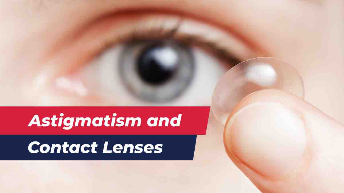 Contact lens for astigmatism with eye in background